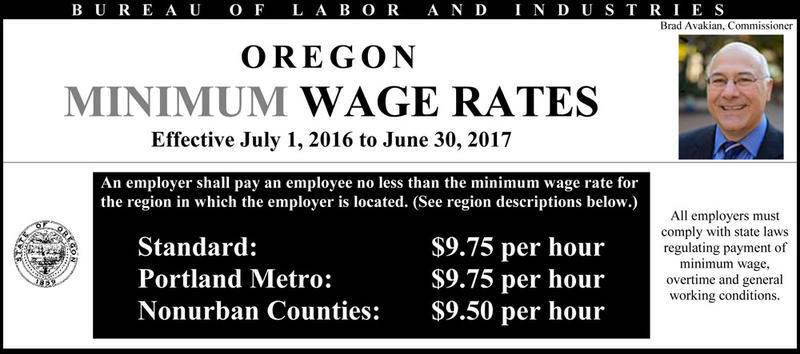 Oregon minimum wage rates