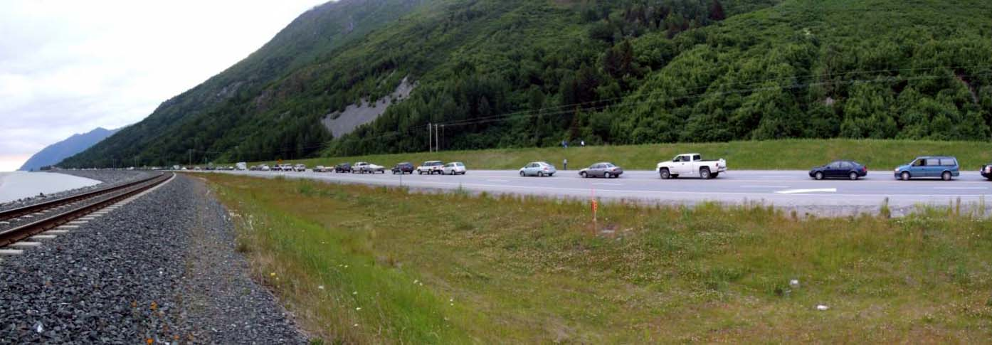 Traffic backs up on the Seward Highway after a traffic accident, July 15, 2008. (Creative Commons photo by Travis)