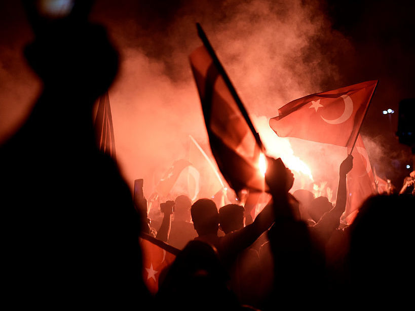 Pro-Erdogan supporters gather at Taksim square in Istanbul to support the government on July 16, 2016, following a failed coup attempt. Aris Messinis/AFP/Getty Images