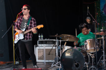 Eric Mountcastle and James Rosales of the Seattle band SHIVERTWINS perform at the 2014 Southeast Alaska State Fair. (Photo by Annie Bartholomew/KTOO)