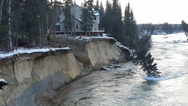 Water diverted from the Tanana River main channel by an ice dam in January blew away vegetation, gouged out the slough and washed away much of the bank at the foot of a ridge where Tom Gorman built his home. (Photo courtesy of Tom Gorman)