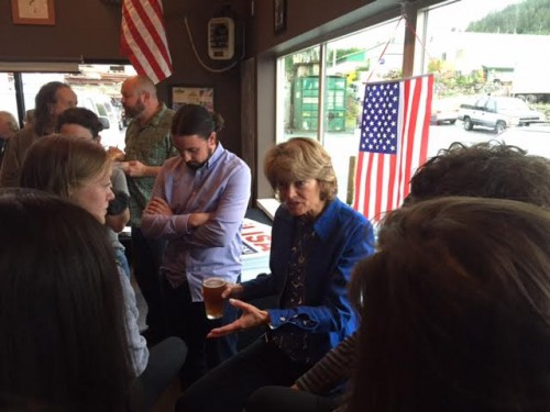 U.S. Senator Lisa Murkowski speaks to Sitkans at a campaign event in Sitka. (Emily Kwong, KCAW)