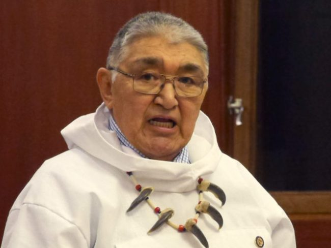 Rep. Benjamin Nageak, D-Bethel, during debate on the creation of Indigenous Peoples Day, April 1, 2016. (Photo by Skip Gray/360 North)