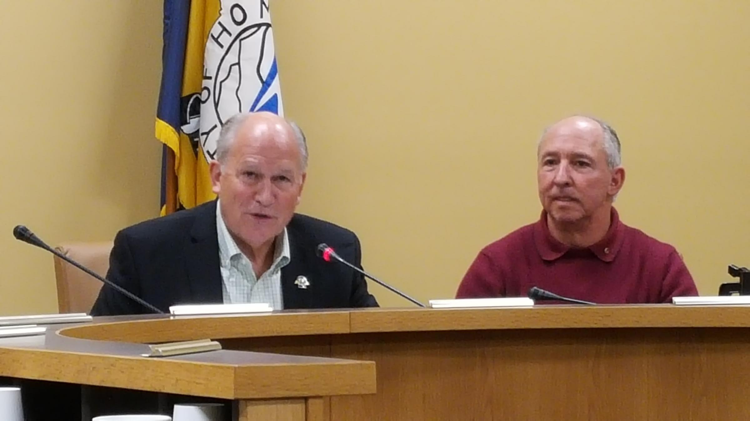 Governor Walker Addresses Homer City Council alongside Council Member Bryan Zak on Tuesday, August 2. (Shahla Farzan, KBBI)