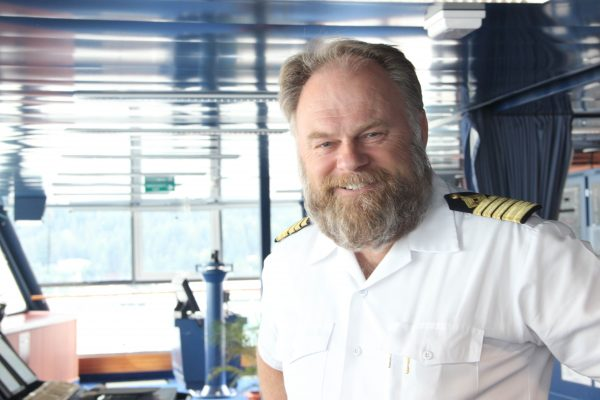 """Captain Birger Vorland of the Crystal Serenity has spent 38 years at sea. """"Nobody has ever planned a cruise as diligently and as detailed as Crystal Cruises has done for this particular voyage,"""" he said. Photo: Rachel Waldholz, Alaska's Energy Desk"""