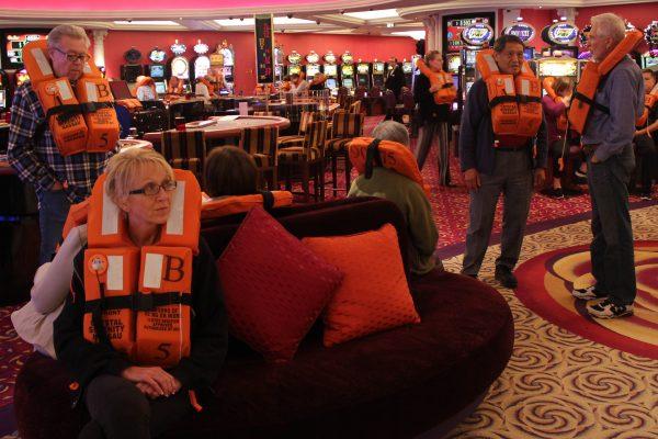 Passengers took part in an emergency drill before the Crystal Serenity left Seward. Photo: Rachel Waldholz, Alaska's Energy Desk