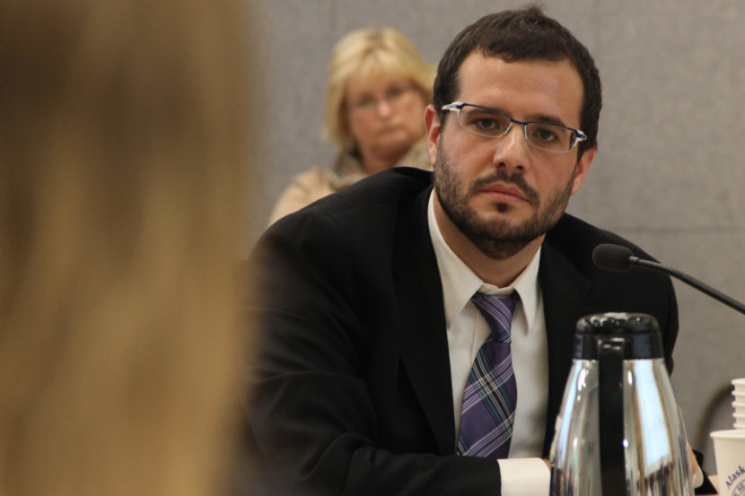 "Nikos Tsafos of Enalytica warned lawmakers of major unkowns in a state-led gas line project. ""If I were taking over a $50 billion project, I would be a lot more worried than I feel folks are worried,"" he said. Photo: Rachel Waldholz, Alaska's Energy Desk"