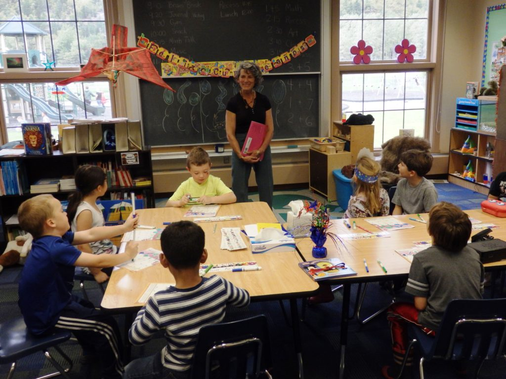 Denise Caposey teaches first graders at Skagway School. This school year is the first in 20 years in which enrollment is big enough to warrant single-grade elementary classrooms. (Photo by Emily Files/KHNS)