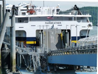 The fast ferry Fairweather docks at Juneau's Auke Bay Ferry Terminal in 2013. (Photo by Ed Schoenfeld/CoastAlaska News)