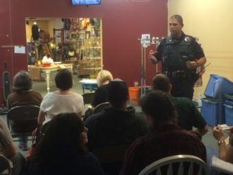 Officer Ken Colon taught a group of retail workers how to prevent theft from their stores on Friday, August 19, 2016.