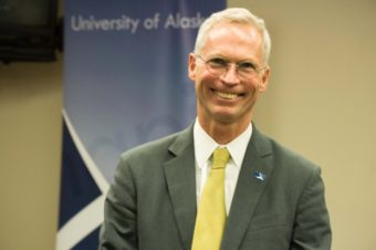 University of Alaska president Jim Johnsen is looking into cost savings options to bring all three main campuses under one accreditation. (Jeremy Hsieh, KTOO)