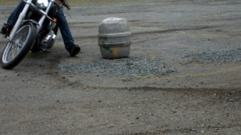 A Juneau rider competes in the Barrel Race during the Panhandlers' annual Rodeo.
