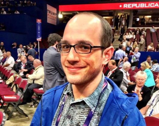 Trevor Shaw at the Republican National Convention in Cleveland. (Photo by Liz Ruskin/APRN)