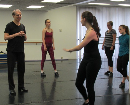 Bill Evans answers questions during tap class.
