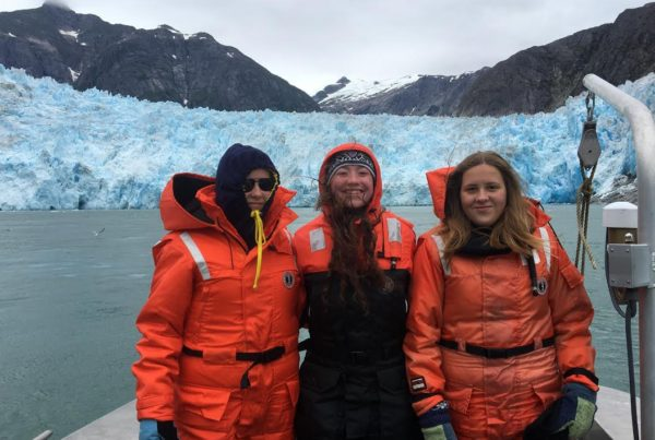 Svea, Vilja and Jillian went on a glacier tour near Petersburg. (Photo courtesy of Bridget Wittstock)
