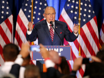 Former New York Mayor Rudy Giuliani speaks before Republican presidential candidate Donald Trump in Youngstown, Ohio, on Monday. (Gerald Herbert, Associated Press)