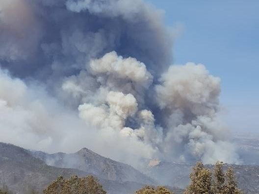 Ten thousand fire personnel are battling blazes across California, including in San Luis Obispo County, where the massive Chimney Fire threatens homes and the historic Hearst Castle. (Associated Press)