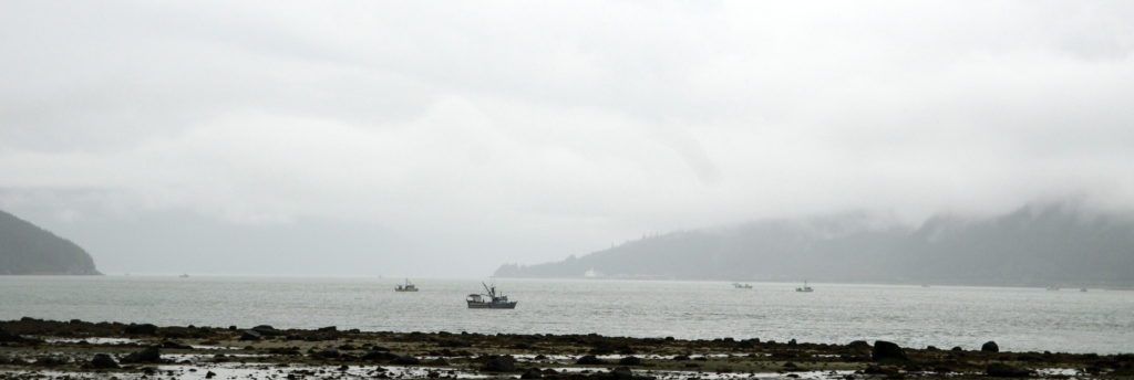 Commercial boats set nets at the mouth of the Chilkoot River on Monday. (Jillian Rogers, KHNS)