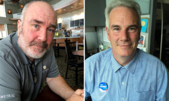 Thomas Lamb, left, is running against Sen. Lisa Murkowski in the Republican Primary. Bob Lochner, of Wasilla, is a Republican candidate for U.S. Senate. (Photos Liz Ruskin, APRN)