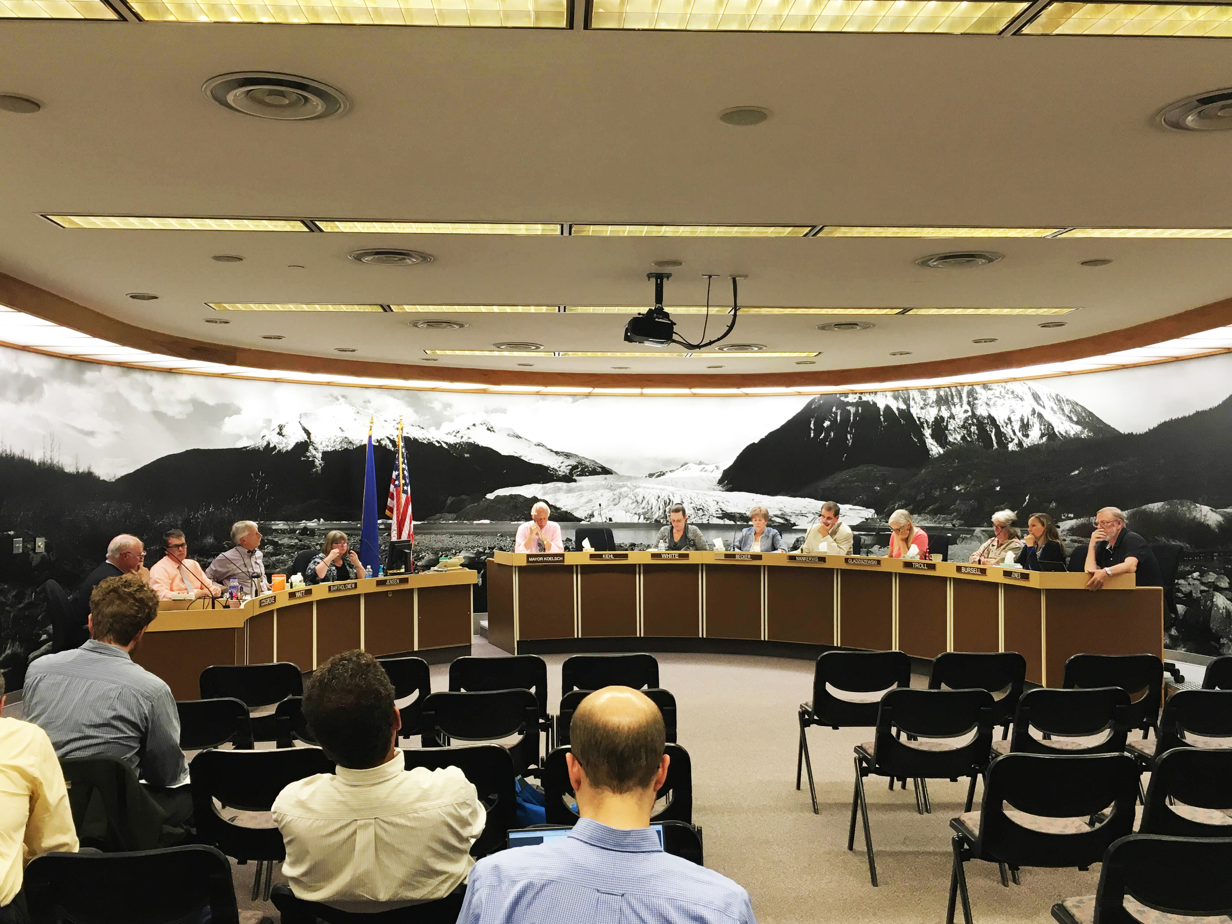 Assemblyman discuss possible solutions during the Juneau Assembly's Finance Committee meeting Aug. 11, 2016. (Photo by Lakeidra Chavis/ KTOO)