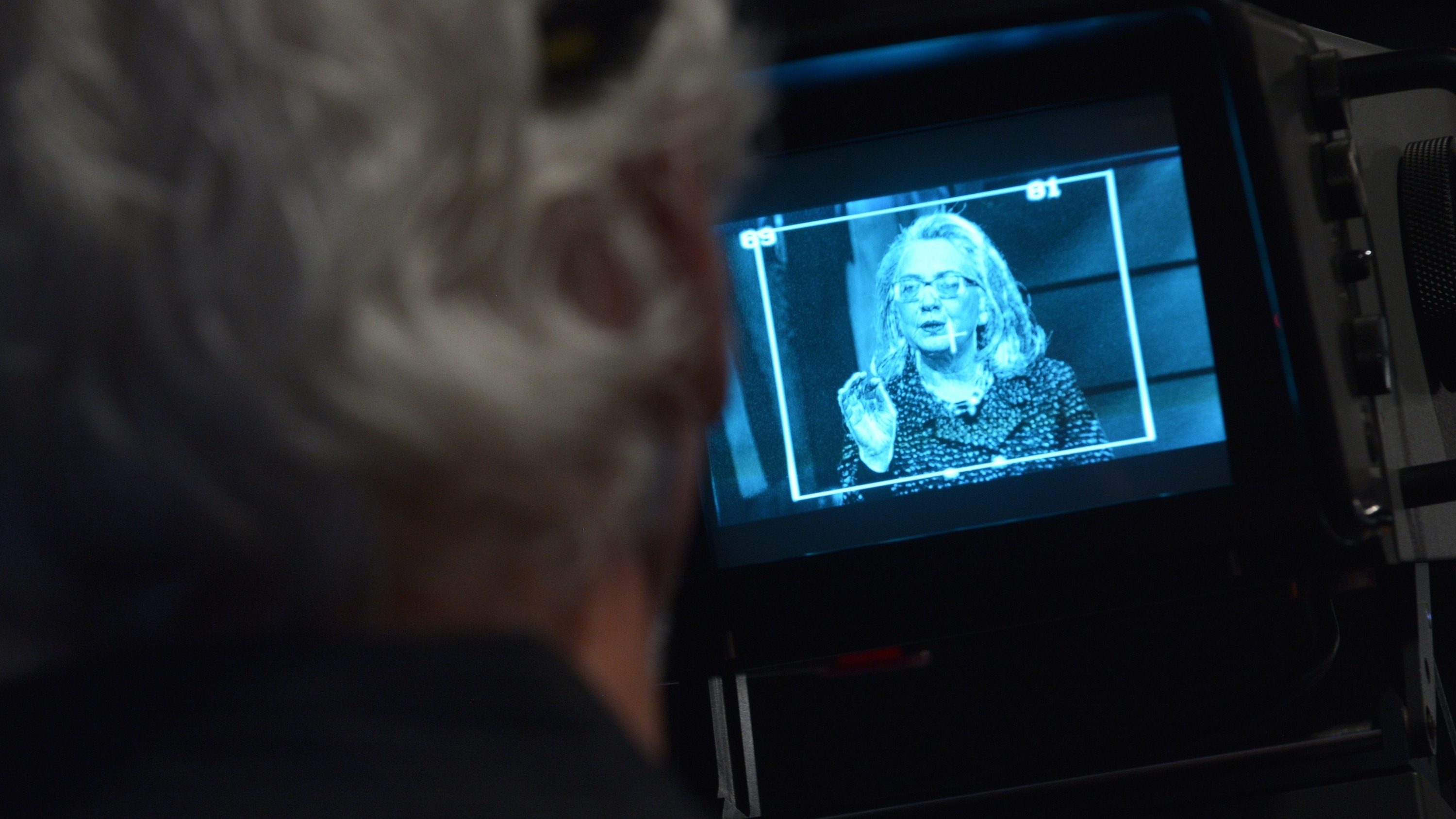 Hillary Clinton, seen on a TV camera monitor in 2013, has been criticized for not holding more press conferences. Mandel Ngan/AFP/Getty Images
