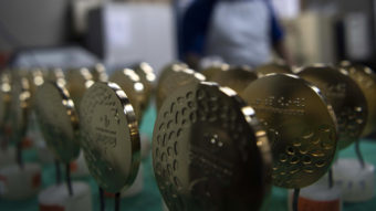 Gold medals for the Rio Olympic Games are displayed at a coin factory in Rio de Janeiro, Brazil, on July 18, 2016. Christophe Simon/AFP/Getty Images