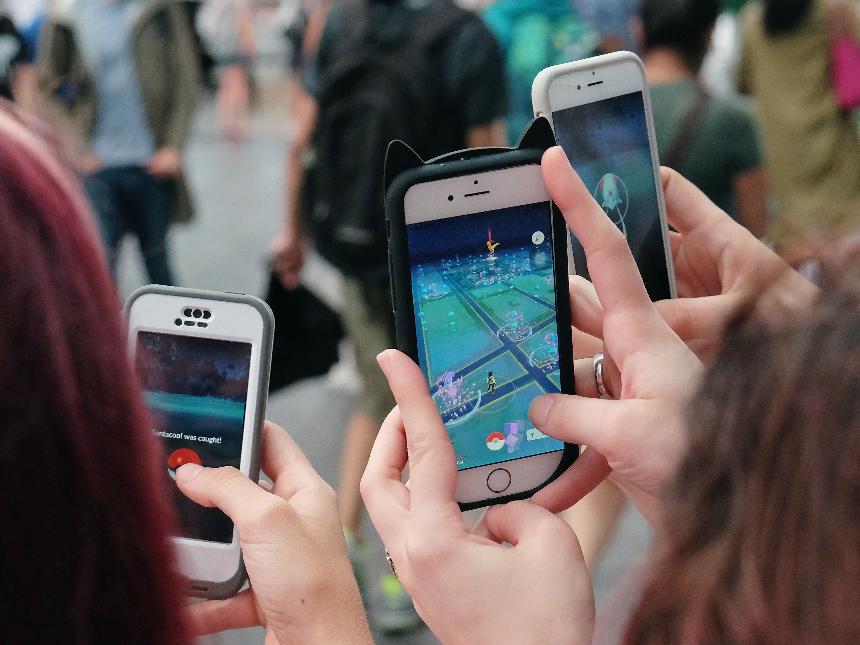 People play Pokémon Go in New York City on July 25. The New York governor's ban on playing the game will apply to nearly 3,000 sex offenders currently on parole. Mike Coppola/Getty Images