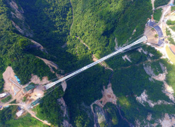 An aerial view of glass-bottom bridge at Zhangjiajie Grand Canyon on Saturday in China's Hunan province. Visual China Group via Getty