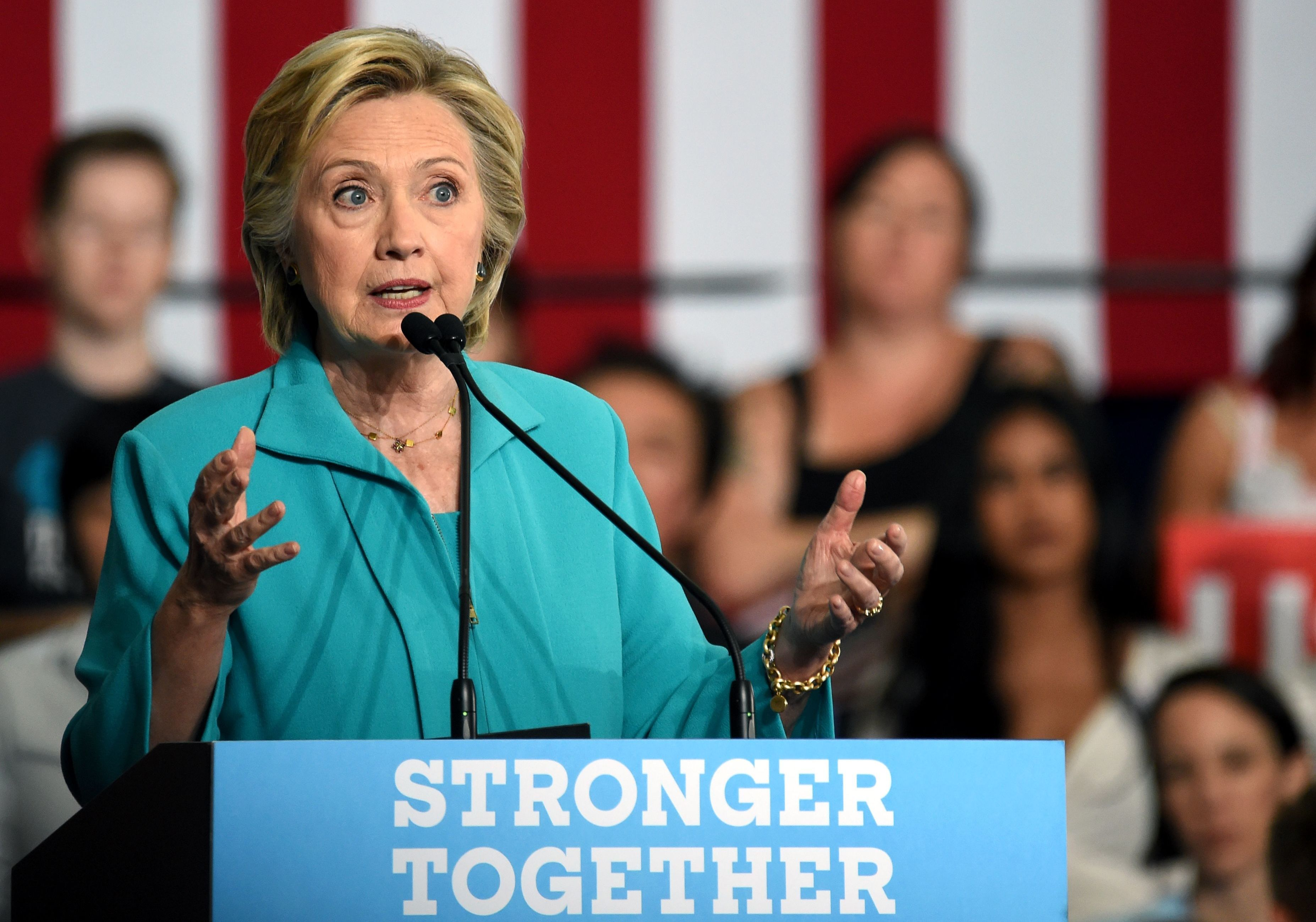 In a speech in Reno, Nev., on Thursday, Hillary Clinton drew connections between rival Donald Trump and hate groups. (Photo by Josh Edelson/AFP/Getty Images)