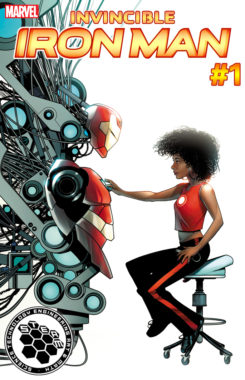 Invincible Iron Man — featuring the debut of a new hero, Riri Williams — is one five books Marvel is using to promote science, math, and arts disciplines through a series of covers. Courtesy of Marvel
