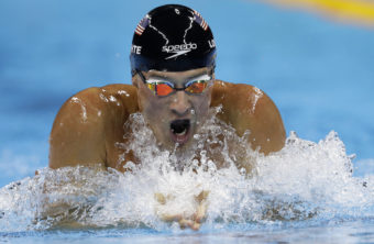 Ryan Lochte competes in the men's 200-meter individual medley final at the Summer Olympics in Rio de Janeiro on Aug. 11. A couple of days later, he reported he had been robbed at a local gas station — a story that turned out to be false. Now Speedo, one of his major sponsors, says it's dropping him. (Photo by Michael Sohn/Associated Press)