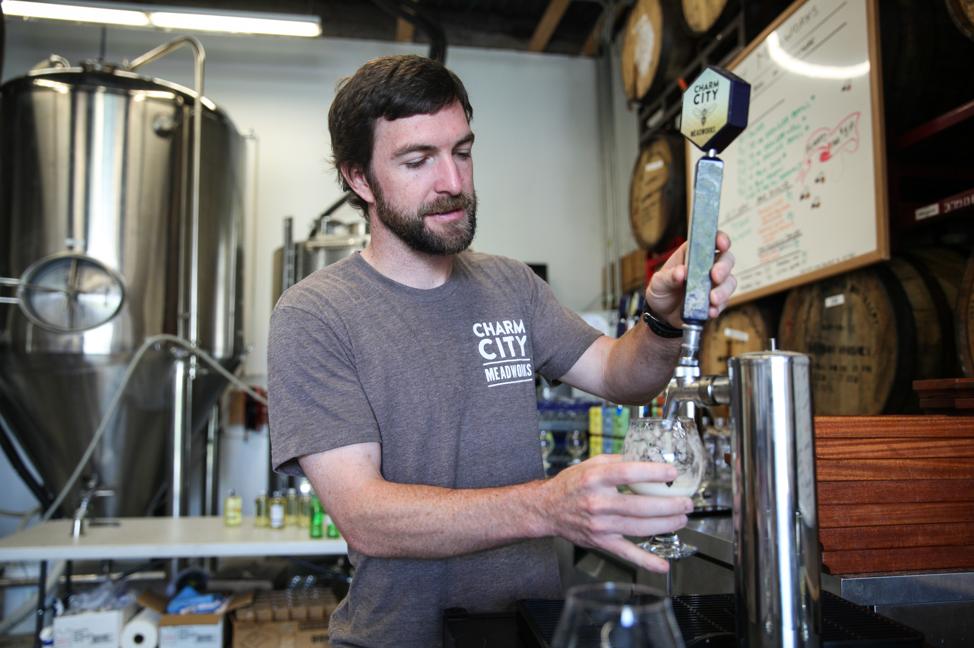"""What will get people to try our mead? If we can make it closer to a beer, that might help,"" says Andrew Geffken, co-owner of Charm City Meadworks in Baltimore, Md. (Morgan McCloy, NPR)"