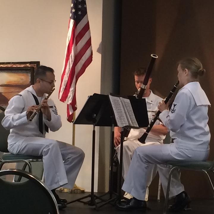 The Navy Band Northwest performs during the Kenai Peninsula Orchestra's Summer Music Festival. (Jenny Neyman, KBBI)