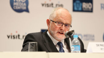 """Sir Philip Craven, president of the International Paralympic Committee, announces Sunday that the entire Russian Paralympic team will be barred from next month's games in Rio de Janeiro. """"The anti-doping system in Russia is broken,"""" he said. Joe Scarnici/Getty Images"""