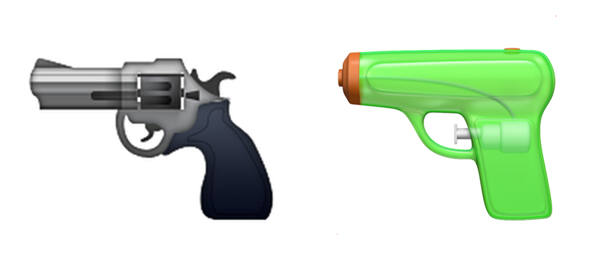 On its latest operating system, iOS 10, Apple has replaced its pistol emoji with this icon of a green water gun. (Apple)