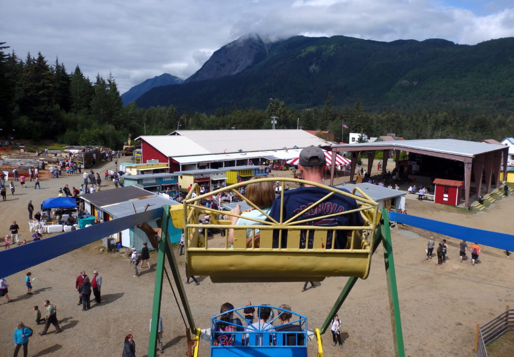 Fairgoers ride the Ferris wheel at the 48th annual Southeast Alaska State Fair. (Photos by KHNS)