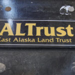 Name plaque for the Southeast Alaska Land Trust outside of its office downtown. (Lakeidra Chavis/ KTOO)