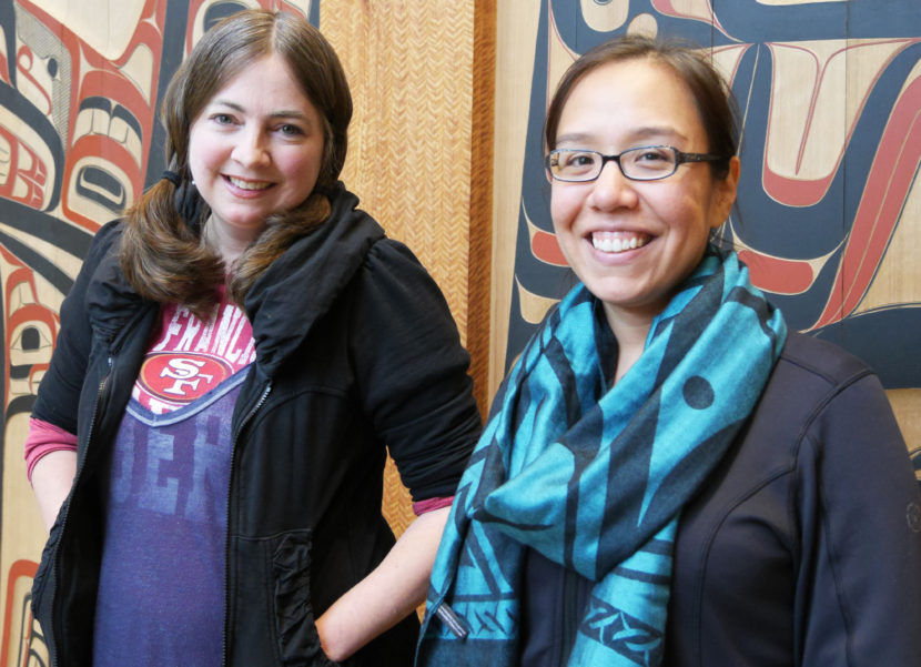 (R to L) Sealaska Heritage's Kathy Dye and Katrina Hotch, who both worked on the recently-released Tlingit language app, posed in the Sealaska Heritage Institute lobby. (Photo by Lakeidra Chavis/ KTOO)
