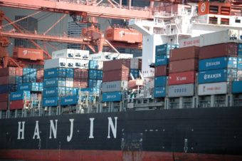 File photo of Hanjin container ship at the Port of Seattle (Photo by James Brooks/Flickr)