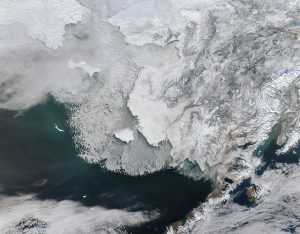 A satellite view of Western Alaska and the Bering Strait, taken Feb. 4, 2014. (Photo by NASA)