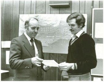 Then-Valdez Mayor Bill Walker congratulates Alyeska's Marine Terminal manager on the arrival of the one billionth barrel of oil, 1979. (Photo courtesy of Bill and Donna Walker)
