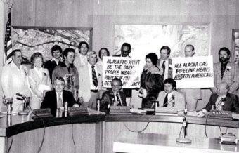 Bill Walker, fifth from left. As a Valdez City Council member, Walker traveled with a delegation from the Organization for the Management of Alaska Resources (later the Resource Development Council) to meet with California Gov. Jerry Brown to advocate for a gas line, 1977. (Photo courtesy of Bill and Donna Walker)
