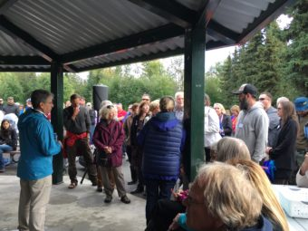 Mayor Ethan Berkowitz, along with APD Chief Chris Tolley took questions for more than an hour-and-a-half from concerned residents of neighborhoods around Valley of the Moon Park. (Photo by Zachariah Hughes/Alaska Public Media, Anchorage)