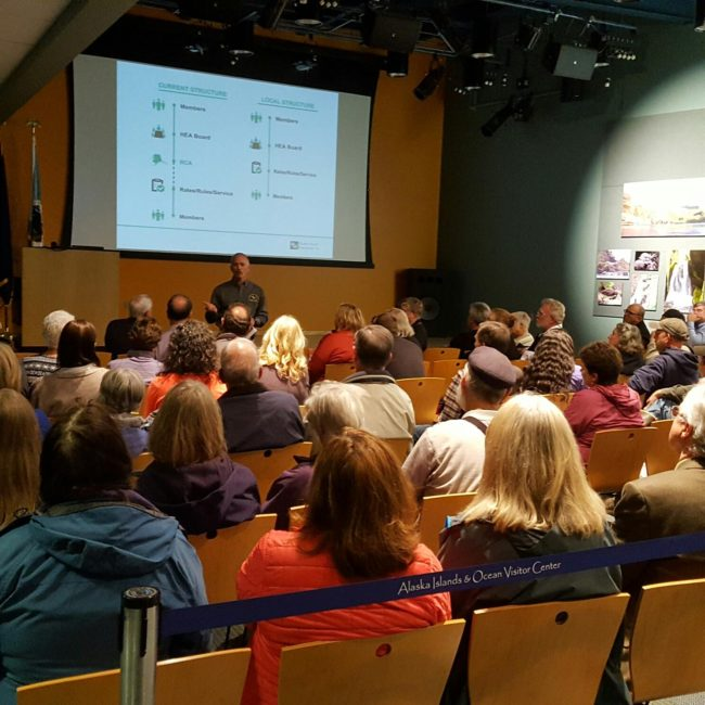 Homer Electric Asssociation holds an informational meeting in Homer on September 28, 2016. (Photo by Shahla Farzan/KBBI)