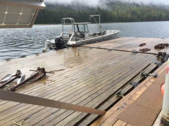 Temporary mooring float tied to float house at Anan Wildlife Observatory. (Photo by Aaron Bolton/KSTK News)