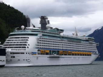 The Explorer of the Seas docked in Skagway. (Photo by Emily Files/KHNS)