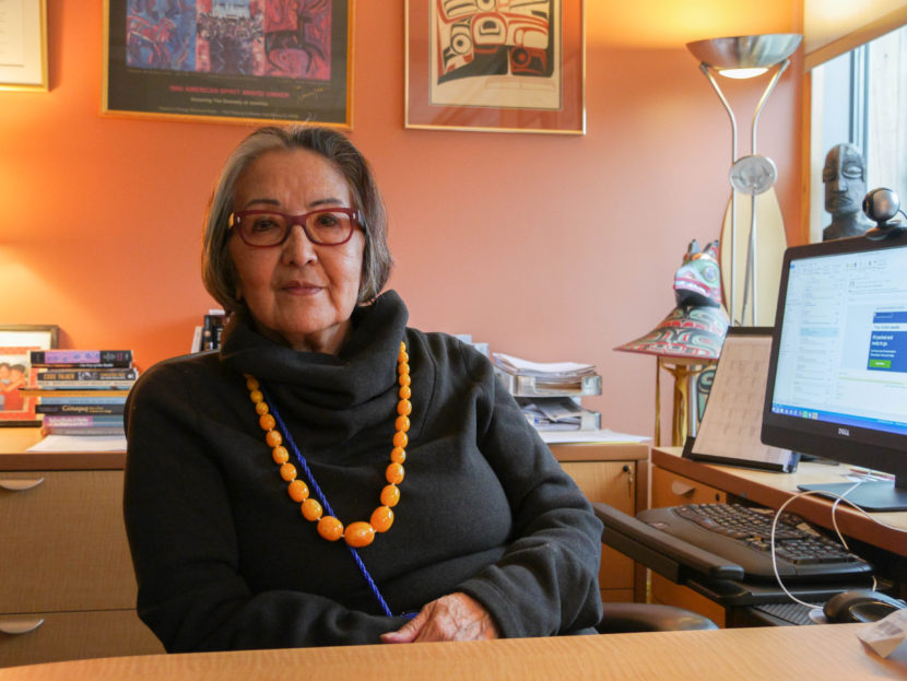Sealaska Heritage Institute President Rosita Worl sits in her office. (Photo by Lakeidra/ KTOO)