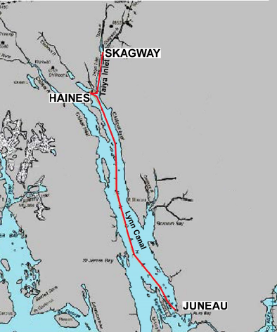 The path of the Lynn Canal fiber-optic cable. (AP&T