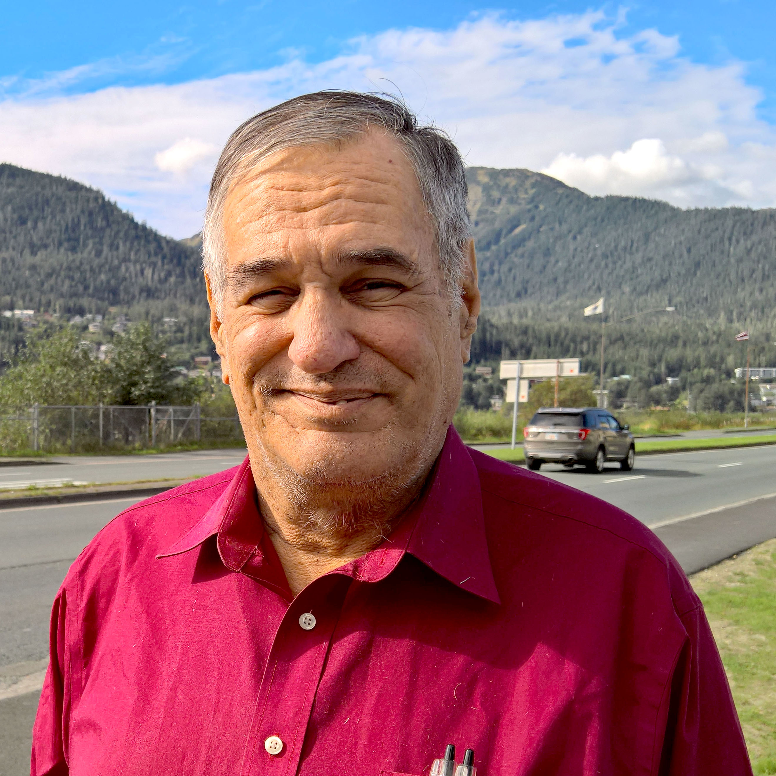 William Quayle poses for a photo outside KTOO, Sept. 2, 2016. Quayle is a candidate for Juneau Assembly. (Photo by Jeremy Hsieh/KTOO)