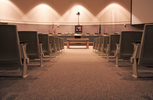 The Anchorage Assembly chambers at the Z. J. Loussac Public Library in Anchorage. (Alaska Public Media staff photo)